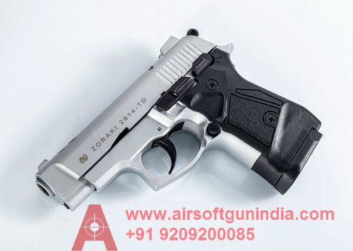 Zoraki M2914 Chrome Finish 9mm Front Firing Blank Gun By Airsoft Gun India