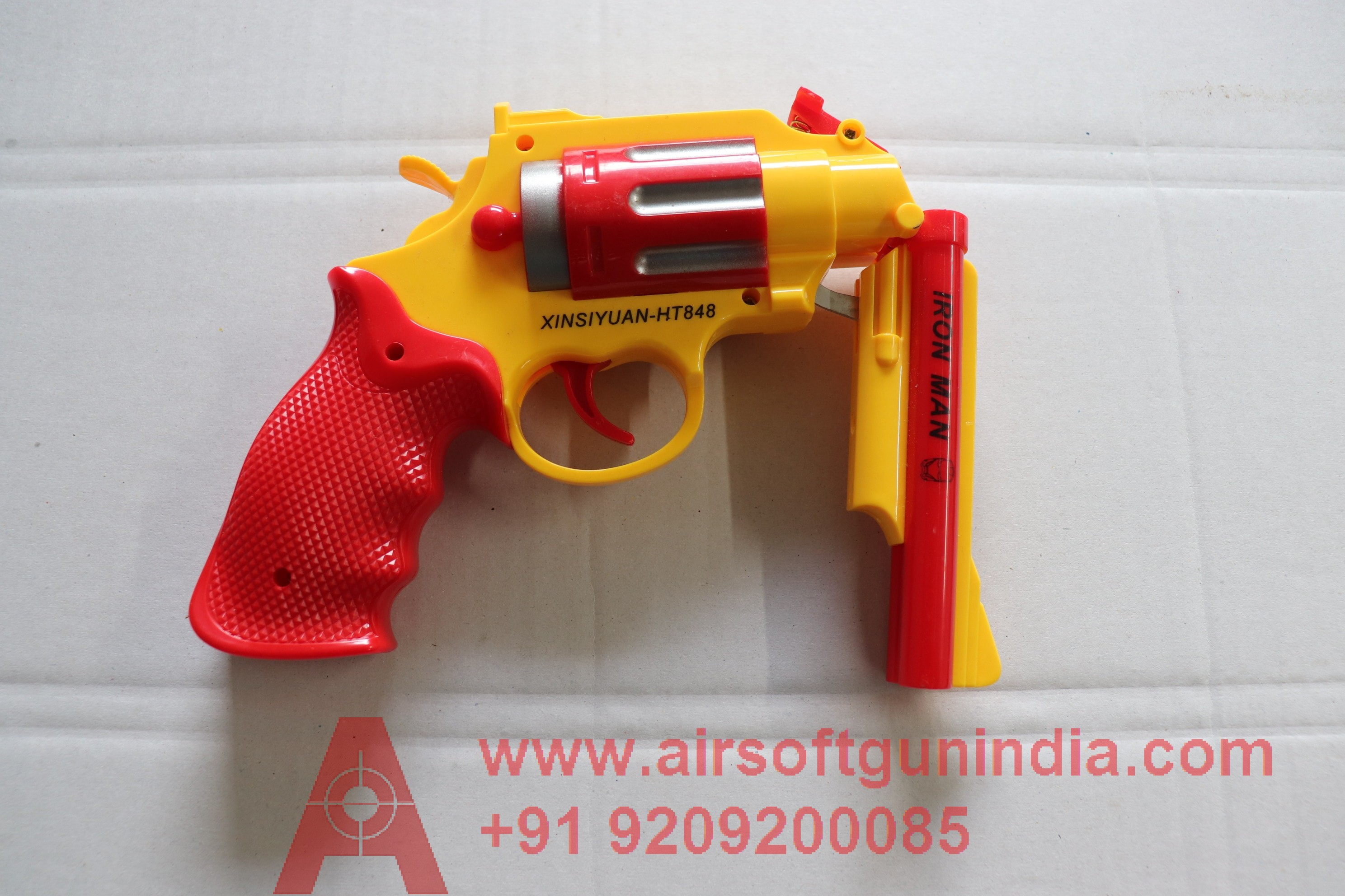 RUBBER BULLET DOUBLE BARREL PLASTIC REVOLVER TOY (RED)