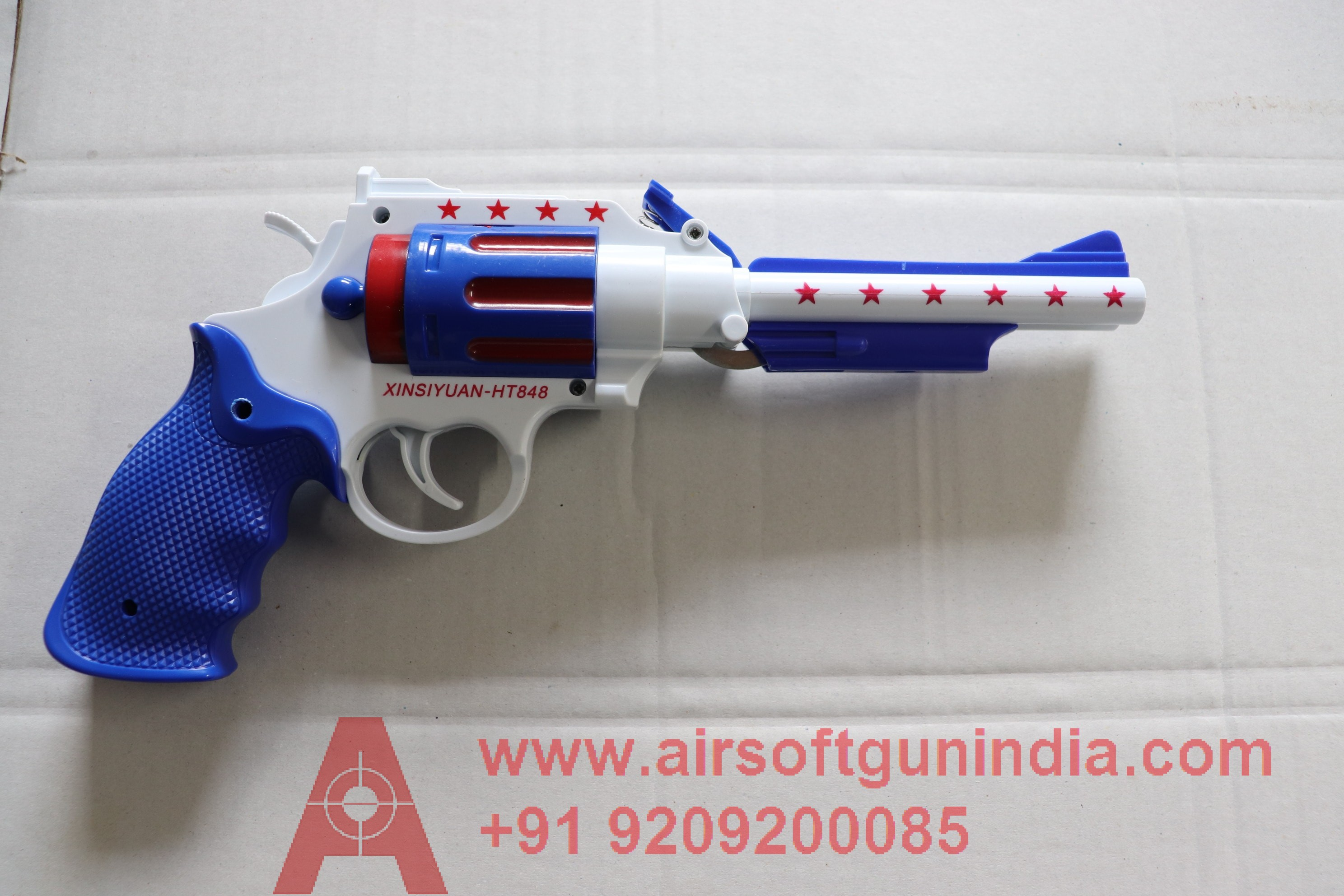 RUBBER BULLET DOUBLE BARREL PLASTIC REVOLVER TOY (BLUE)