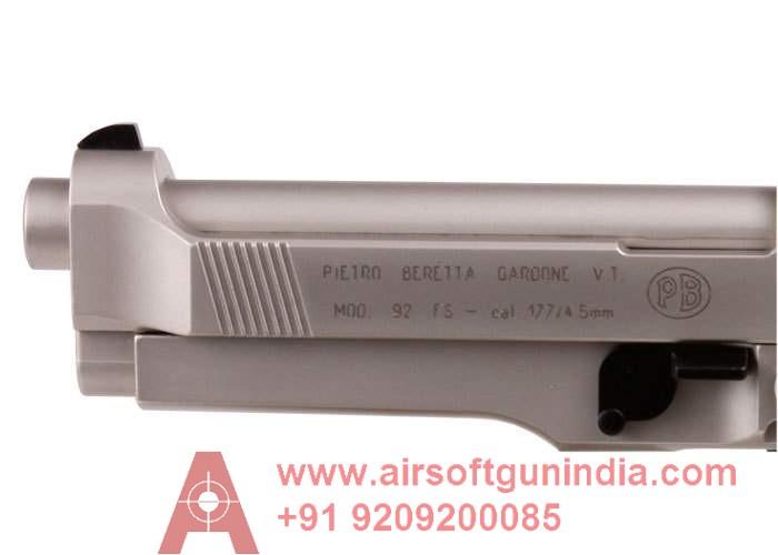Beretta 92FS, Nickel, Black Grips Co2 Pellet Gun By Airsoft Gun India