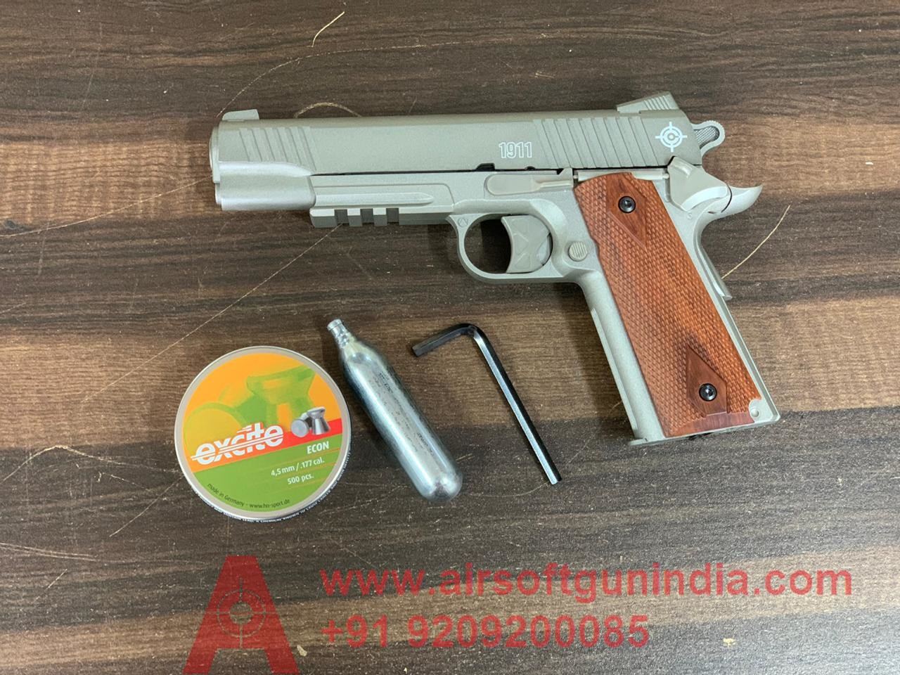 Crosman 1911 CO2 Pellet Pistol, Silver By Airsoft Gun India