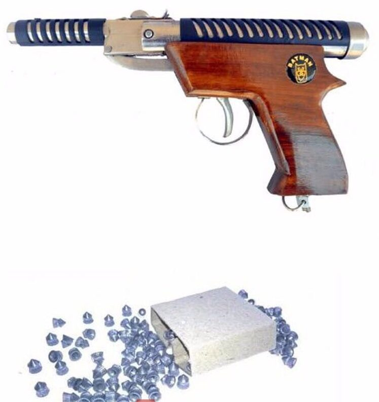 BATMAN 007 Wooden Handle Air Gun ( SILVER )