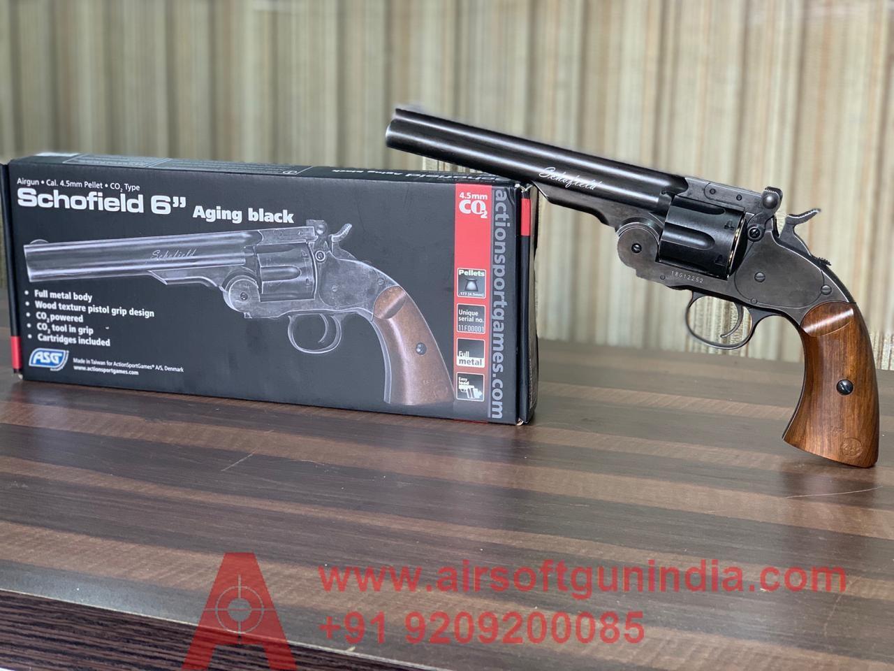 """Schofield 6"""" Pellet Revolver Black By Airsoft Gun India"""