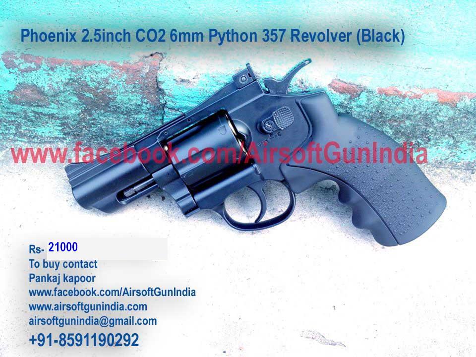 Phoenix 2.5inch CO2 6mm Python 357 Revolver (Black) By AirSoft Gun India