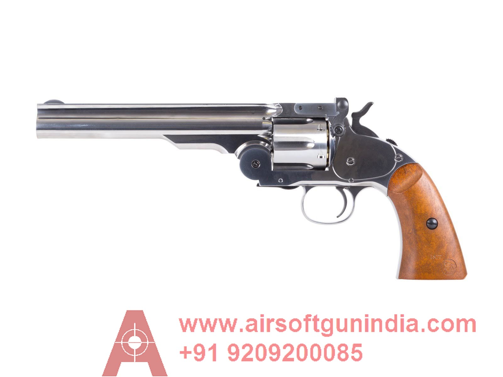 Schofield No3 Nickel Dual Ammo Co2 Bb And Pellet Revolver By Airsoft Gun India