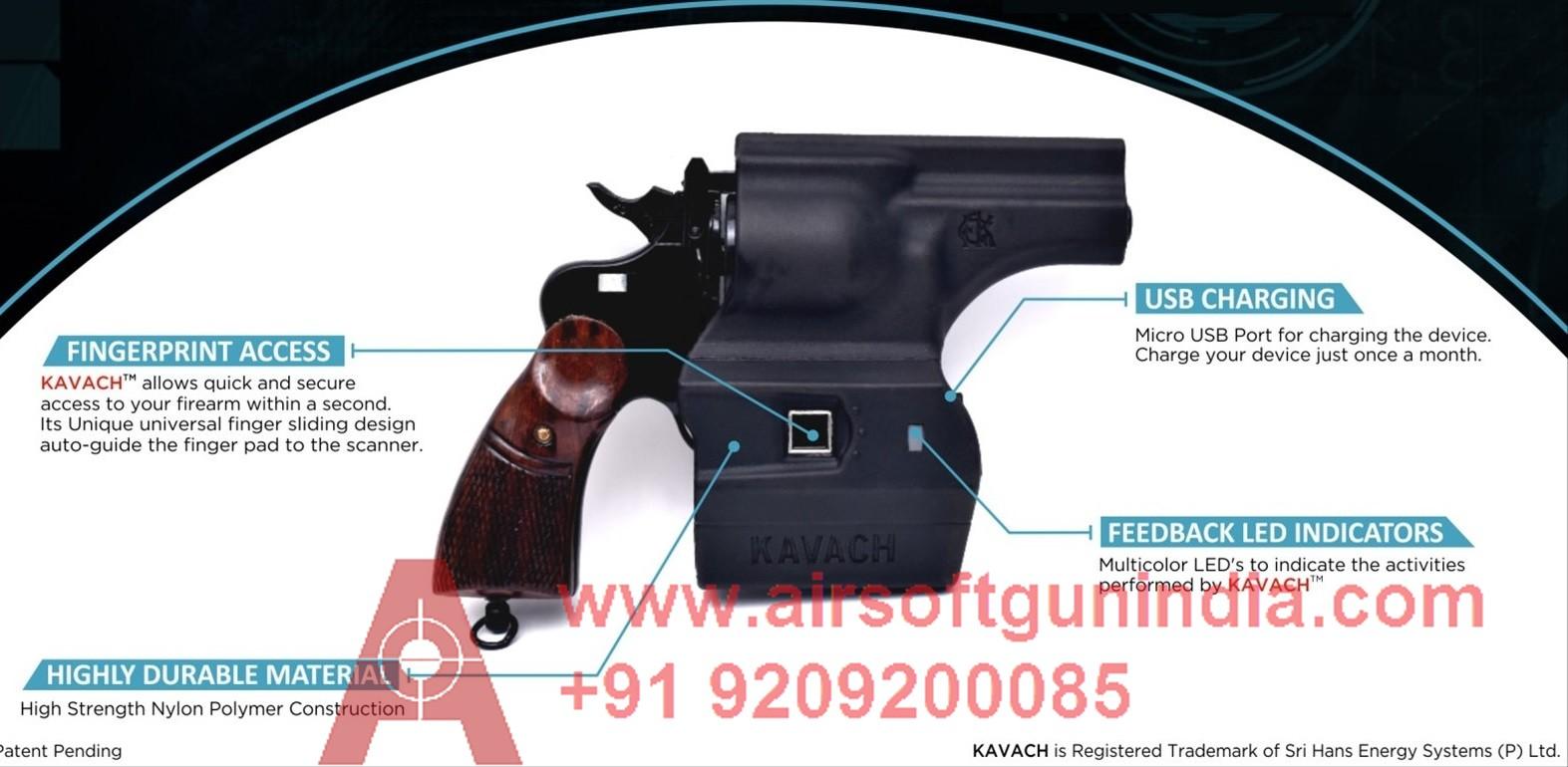 Kavach Smart Holster Fingerprint Gun Holster In India For IOF .32 Revolver By Airsoft Gun India