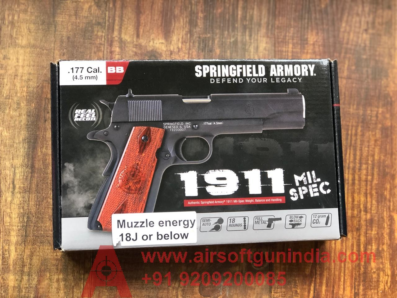 Springfield Armory 1911 Mil-Spec. CO2 .177 BB Gun In India