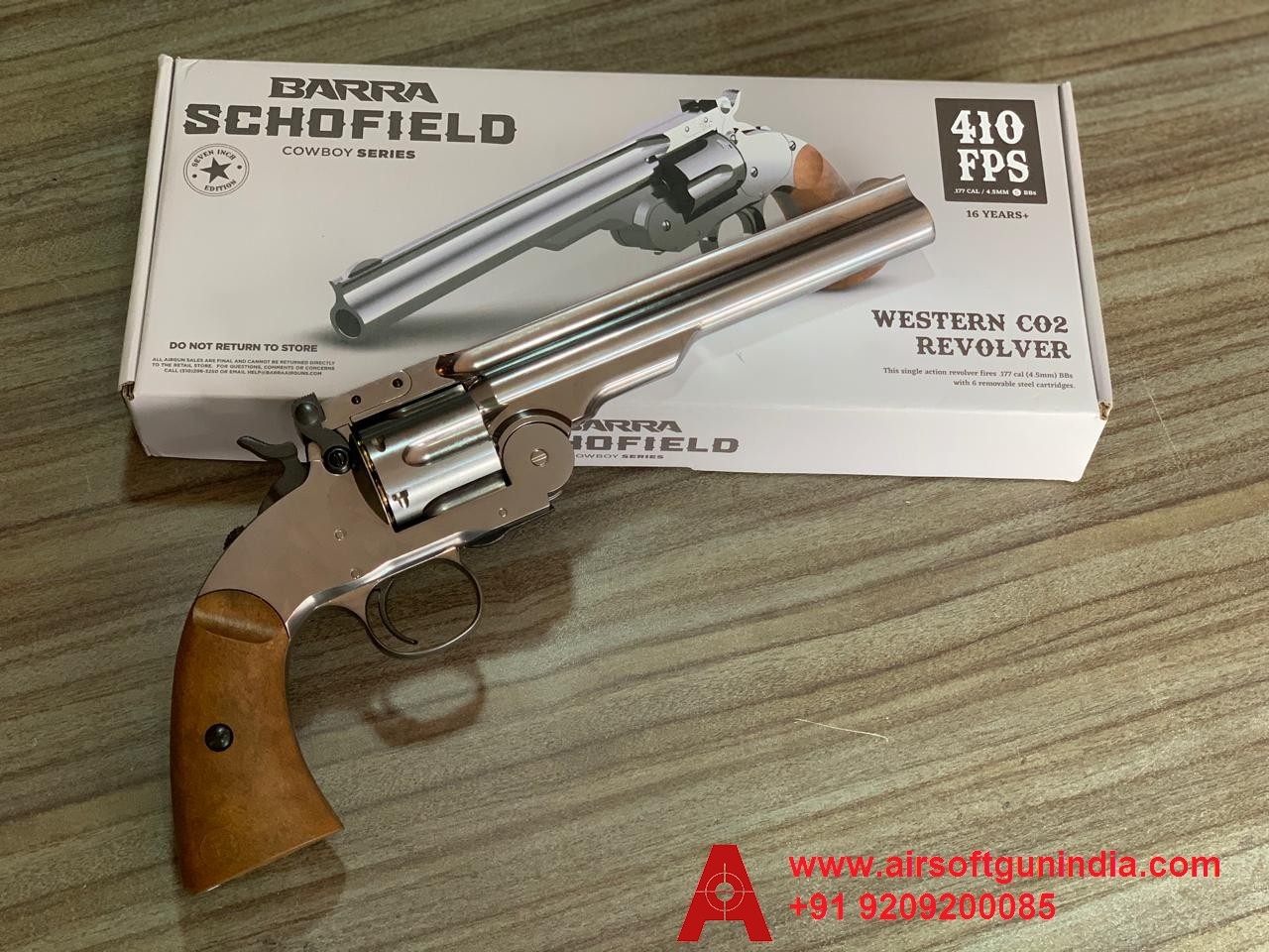 Barra Airguns Schofield No. 3 Revolver - .177 CO2 Full Metal Air Revolver - Chrome Finish