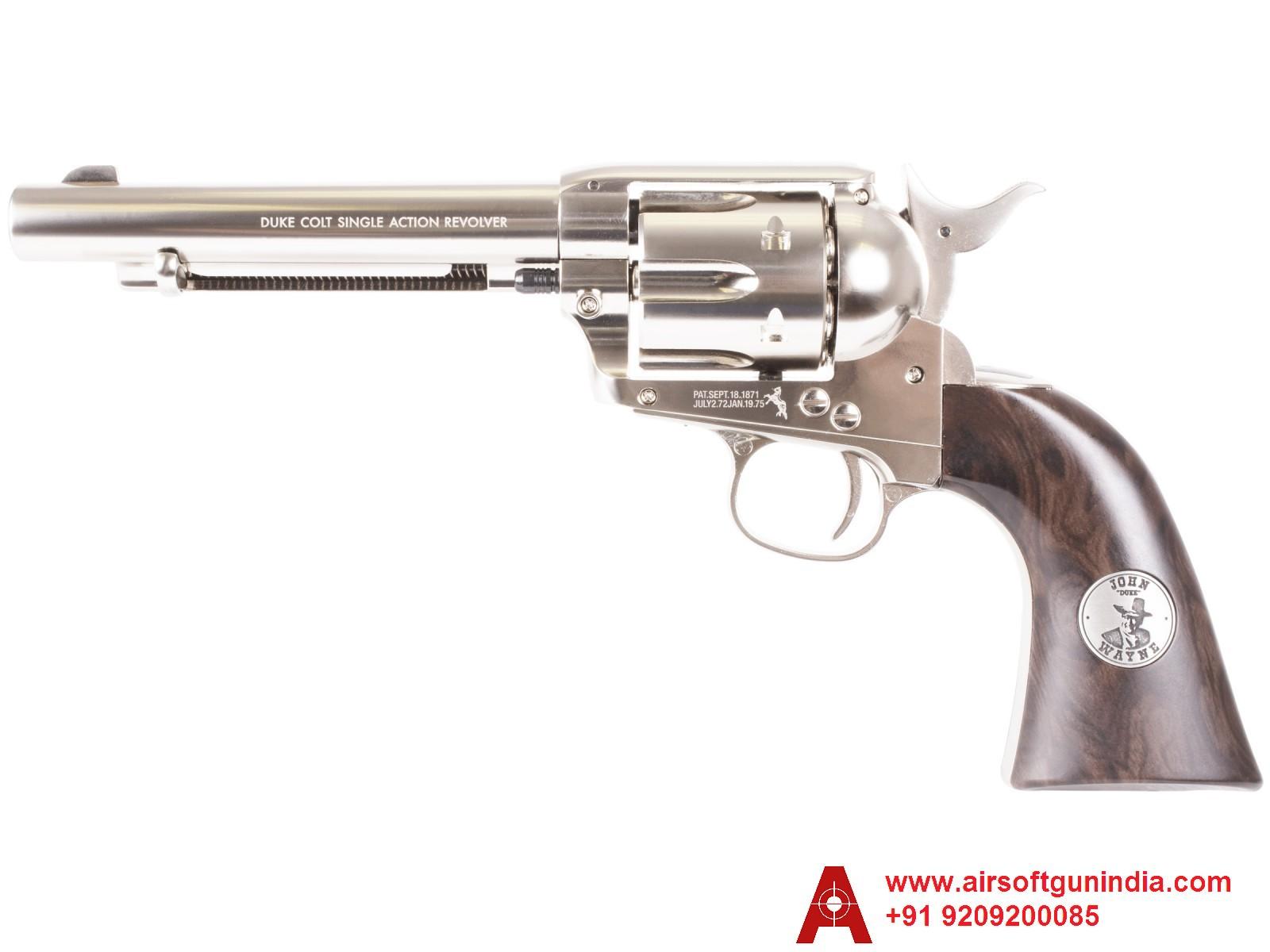John Wayne Colt CO2 Pellet Revolver, Nickel By Airsoft Gun India