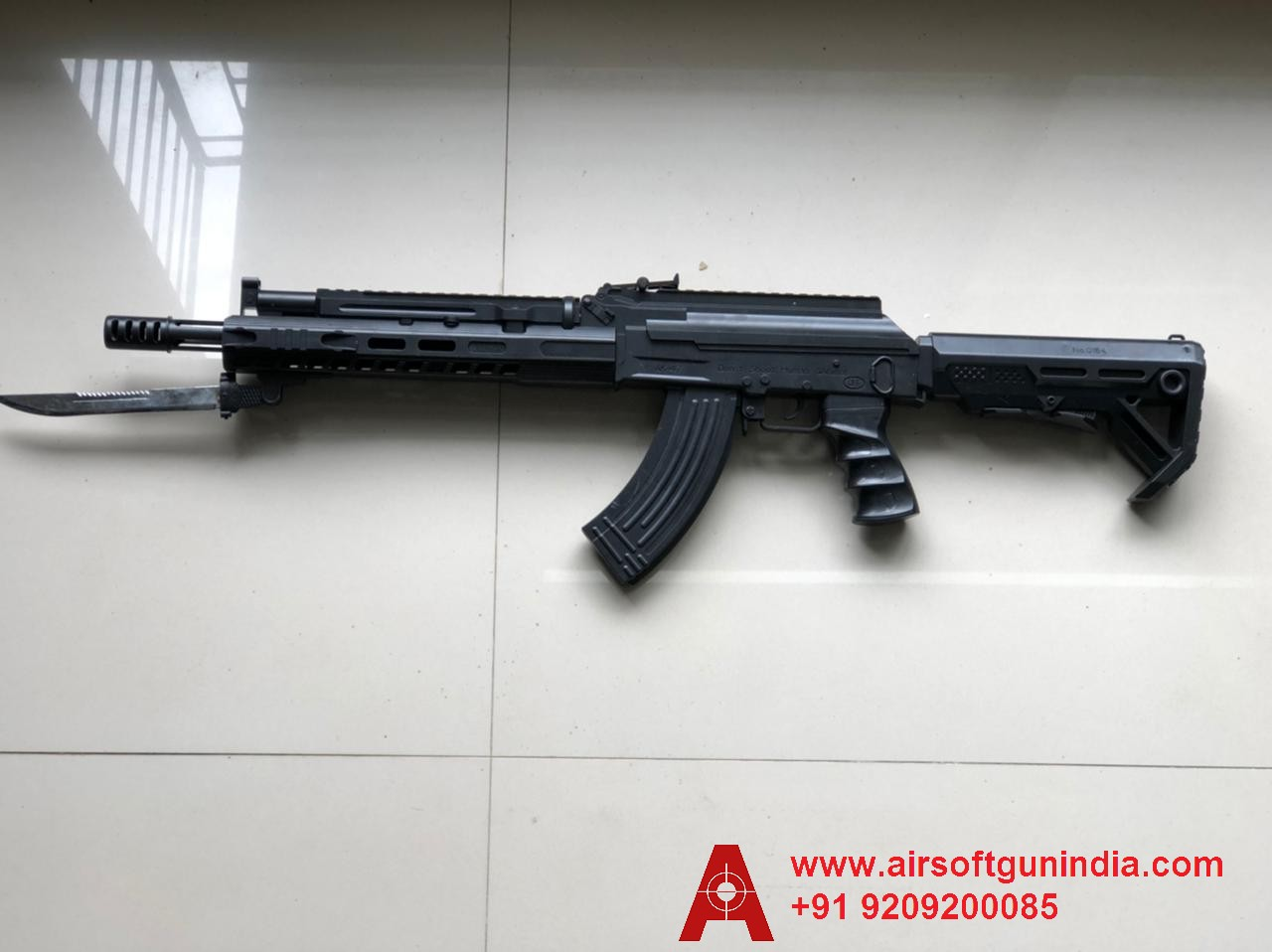 AK-203 Assault Airsoft Rifle With Fake Knife by Airsoft Gun India