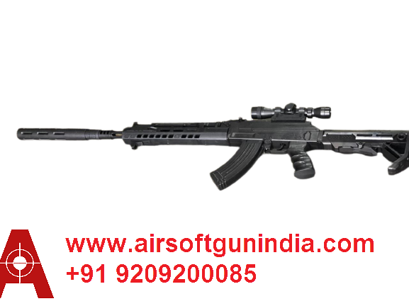 AK-203 Assault Airsoft Rifle  With Fake Suppressor  By Airsoft Gun India